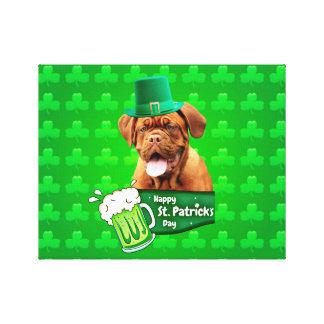 Dogue De Bordeaux Mastiff St. Patrick's Day Canvas Print