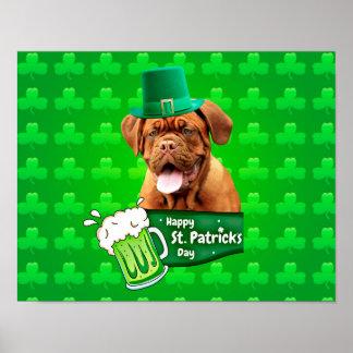 Dogue De Bordeaux Mastiff St. Patrick's Day Poster