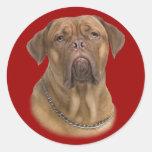Dogue De Bordeaux Portait Round Sticker