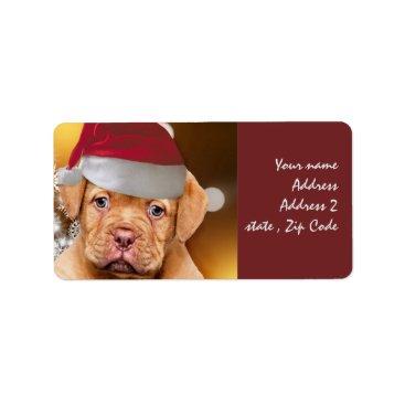 Beach Themed Dogue de Bordeaux puppy mailing labels