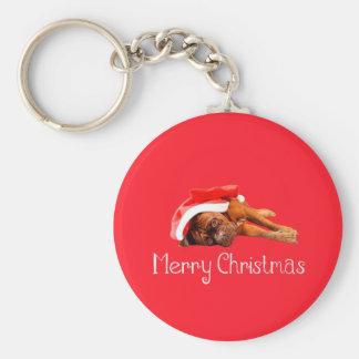 Dogue De Bordeaux Santa Hat Merry Christmas Keychain