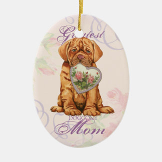 Dogue Heart Mom Ceramic Ornament