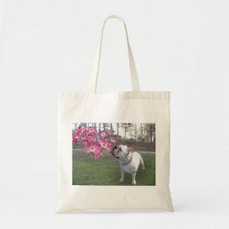 Dogwood and bulldog tote bag
