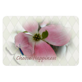 Dogwood and Butterfly Happiness Rectangular Photo Magnet