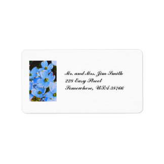 Dogwood azul etiquetas de dirección