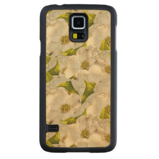 Dogwood Blossom Floral Photograph Abstract BG Carved Maple Galaxy S5 Slim Case