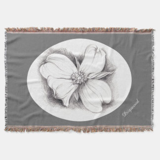 Dogwood Blossom in Charcoal Throw Blanket