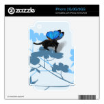 Dogwood blossoms blue cat fairy iphone decals iPhone 3 skin