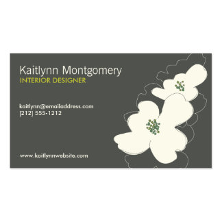 DOGWOOD BLOSSOMS IVORY/GRAY Double-Sided STANDARD BUSINESS CARDS (Pack OF 100)