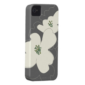 DOGWOOD BLOSSOMS IVORY/GRAY iPhone Case Case-Mate iPhone 4 Cases