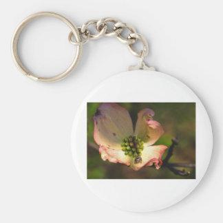 Dogwood Blossum & Spider Basic Round Button Keychain