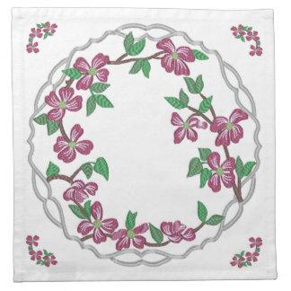 Dogwood del rosa del estilo del bordado servilleta de papel
