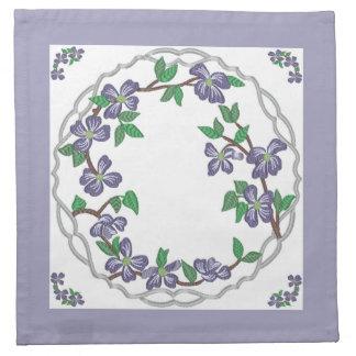 Dogwood floreciente del estilo del bordado servilletas de papel