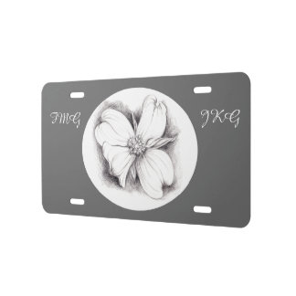 Dogwood Flower Drawing Charcoal Monogrammed License Plate