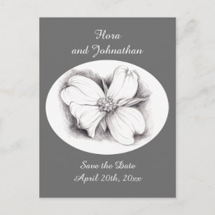 Flower Drawings Save The Date Cards Zazzle