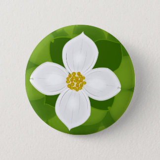 Dogwood Flower on green background Button