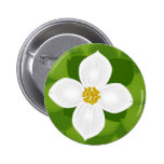 Dogwood Flower on green background Buttons