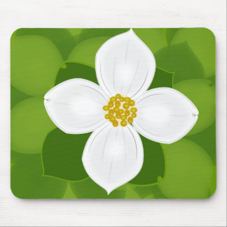 Dogwood Flower on green background Mouse Pad