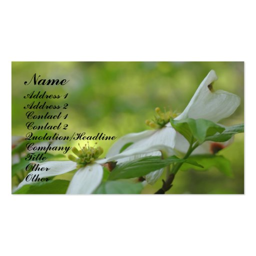 Dogwood Flower Photography Business Card