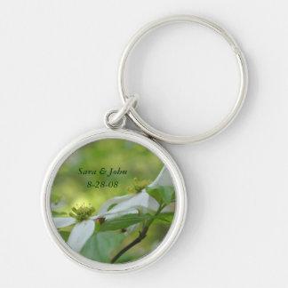Dogwood Flower Wedding Date Keychain