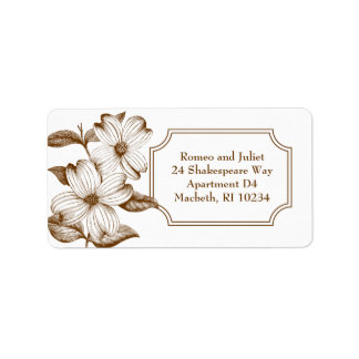 Dogwood Flowers Address Label in Chocolate Brown