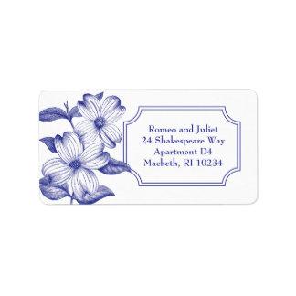Dogwood Flowers Address Label in Navy
