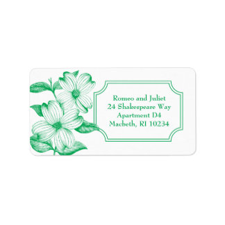 Dogwood Flowers Address Label in Spring Green