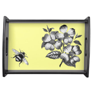 Dogwood Flowers & Bumble Bee vintage art tray