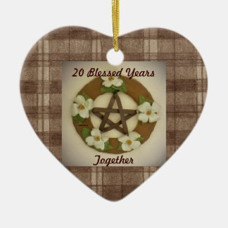 Dogwood Pentacle Wreath Anniversary Commemorative Ceramic Ornament