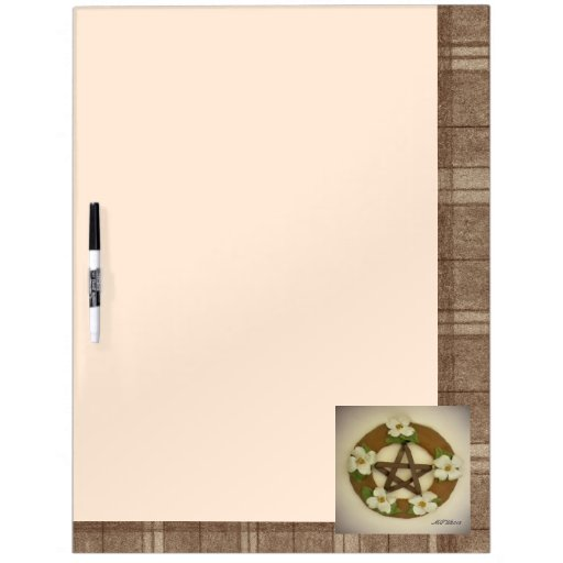 Dogwood Pentacle Wreath Brown Plaid Dry Erase Whiteboards