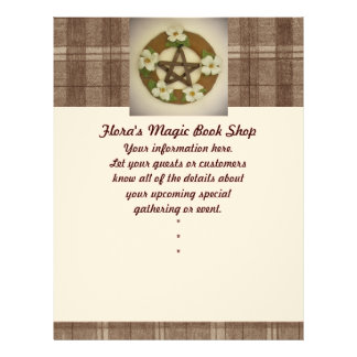 Dogwood Pentacle Wreath Brown Plaid Flyer