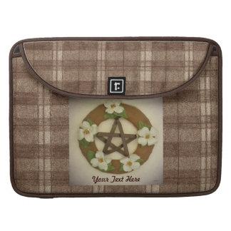 Dogwood Pentacle Wreath Brown Plaid MacBook Pro Sleeve