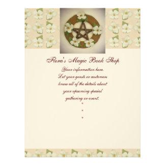Dogwood Pentacle Wreath Floral Pattern Flyer Design