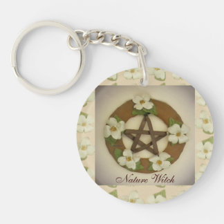Dogwood Pentacle Wreath Floral Pattern Acrylic Key Chain