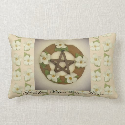 Dogwood Pentacle Wreath Floral Pattern Throw Pillows