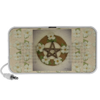 Dogwood Pentacle Wreath Floral Pattern Laptop Speaker