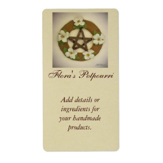 Dogwood Pentacle Wreath Handmade Handcrafted Label
