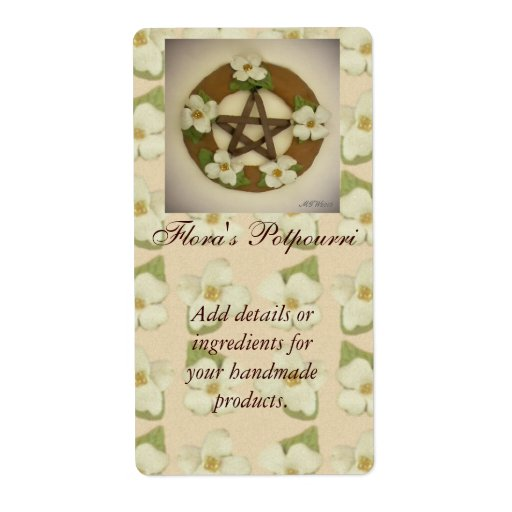 Dogwood Pentacle Wreath Handmade Handcrafted Personalized Shipping Labels