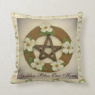 Dogwood Pentacle Wreath Home Blessing Housewarming Throw Pillow