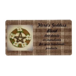Dogwood Pentacle Wreath Plaid Handmade Handcrafted Label