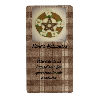 Dogwood Pentacle Wreath Plaid Handmade Handcrafted Label
