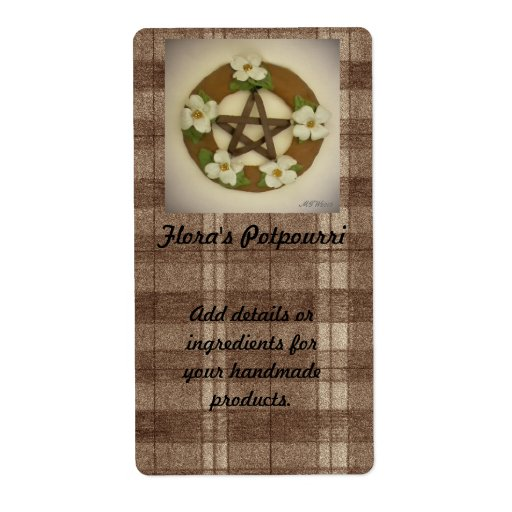 Dogwood Pentacle Wreath Plaid Handmade Handcrafted Personalized Shipping Labels