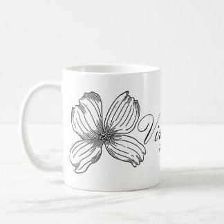 Dogwood State Flower and Virginia Word Black White Coffee Mug