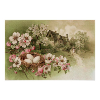 Dogwood Tree Bird Nest Egg Cottage Poster