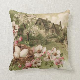 Dogwood Tree Bird Nest Egg Cottage Throw Pillow