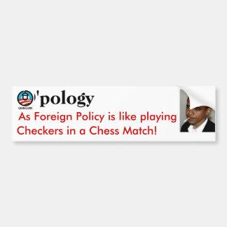 ¡D'oh! O'pology no es una política exterior Etiqueta De Parachoque