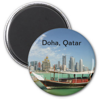 Doha 2011 dhow and skyline 2 inch round magnet