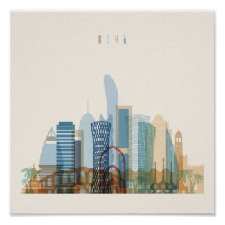 Doha, Qatar | City Skyline Poster
