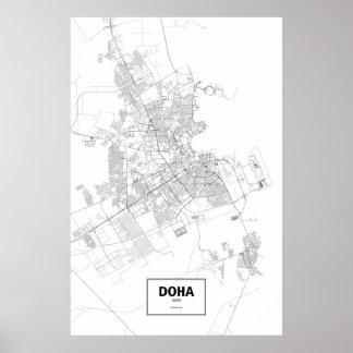 Doha, Qatar (negro en blanco) Póster