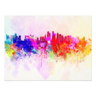 Doha skyline in watercolor background cojinete